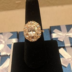 White CZ Ring in 14k over Sterling Silver.